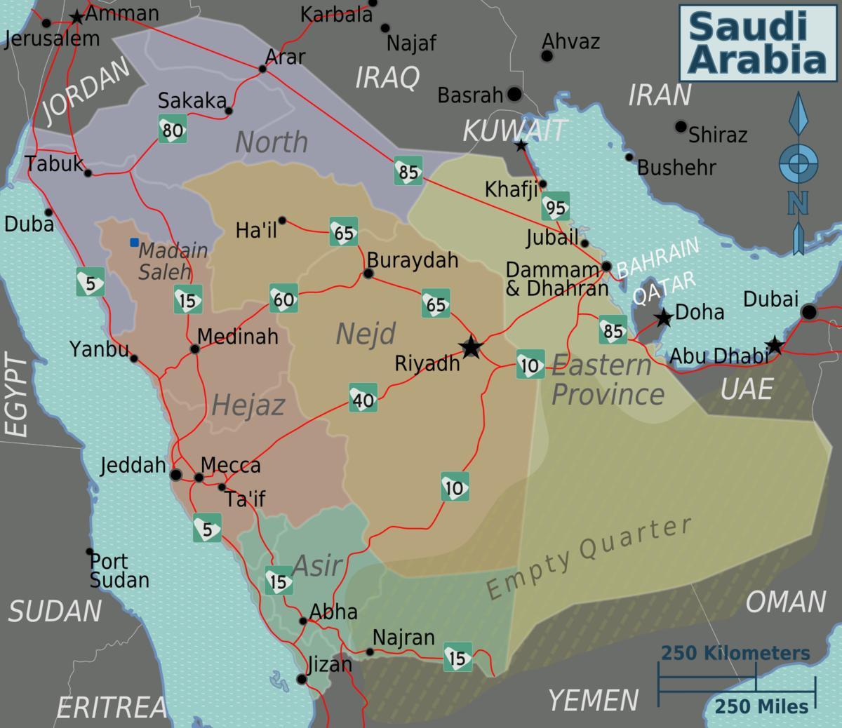 Kort Saudi Arabien Med Byer Afstand Kort Saudi Arabien Med Byer