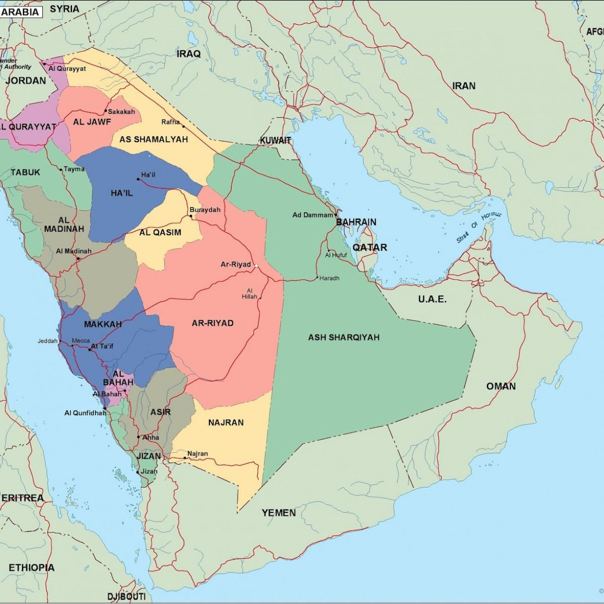 Saudi Arabien Byer Kort Kort Over Saudi Arabien Byer Det