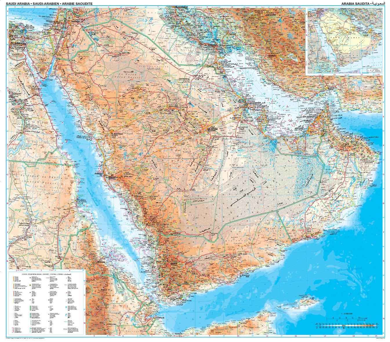 Saudi Arabien Topografisk Kort Kort Over Saudi Arabien