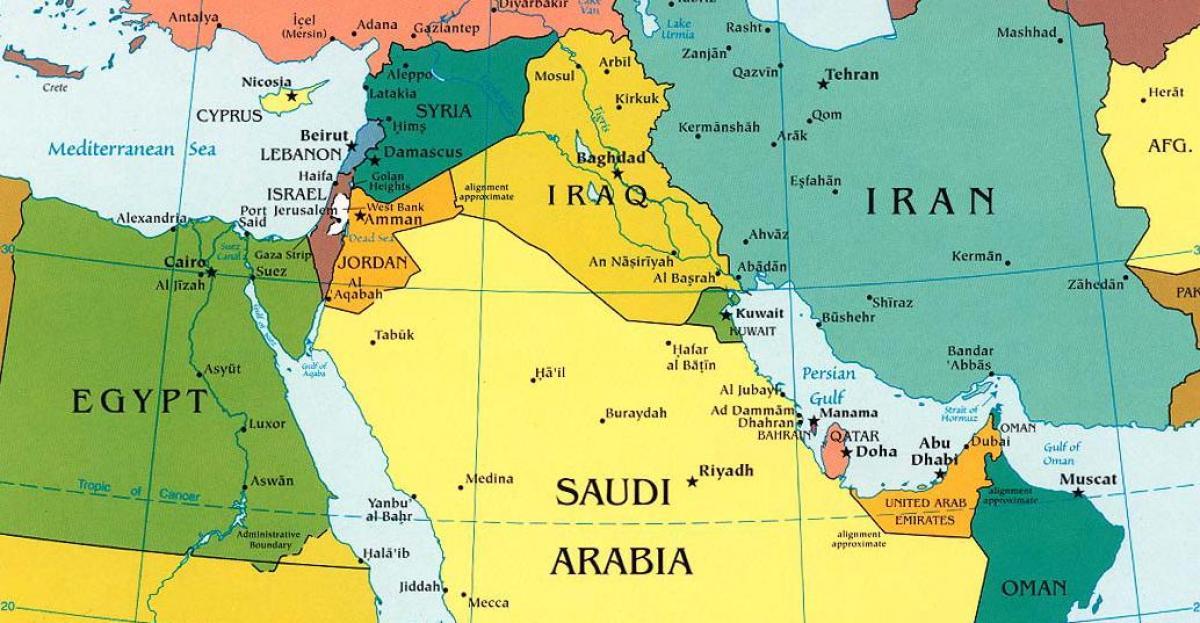 Kort Saudi Arabien Og Omliggende Lande Kort Saudi Arabien