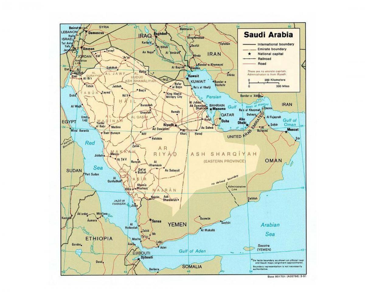 Saudi Arabien Kort Med Byer Saudi Arabien Kort Med Storre Byer