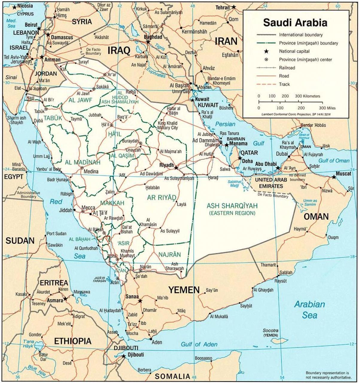Saudi Arabien Politiske Kort Kort Over Saudi Arabien Politiske